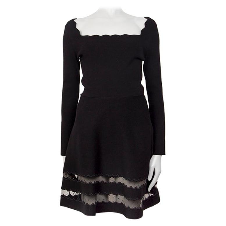 VALENTINO black viscose LACE PANELED HEM KNIT Dress S