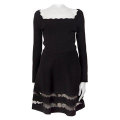 VALENTINO black viscose LACE PANELED HEM KNIT Dress S