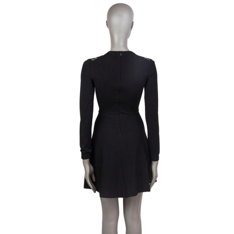 Black VALENTINO black viscose LACE PANELED NECK KNIT Dress 38 For Sale