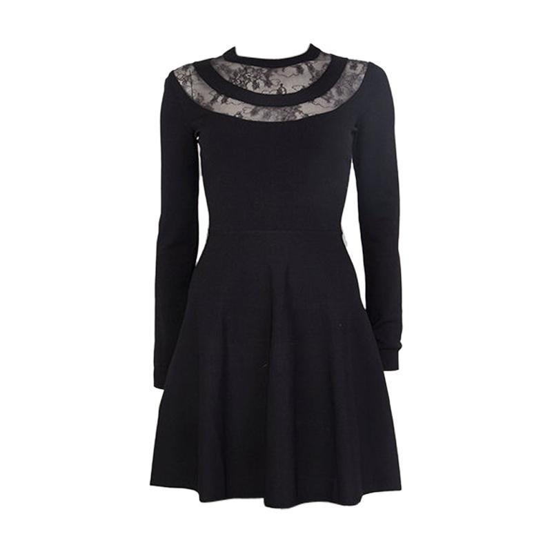 VALENTINO black viscose LACE PANELED NECK KNIT Dress 38