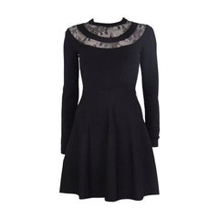 VALENTINO black viscose LACE PANELED NECK KNIT Dress 38