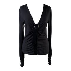 Valentino Black Viscose Long Sleeve Top with Draping Size 44