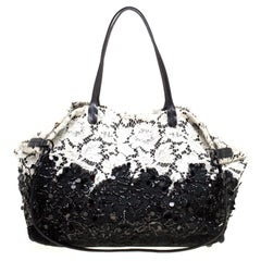 Valentino Black/White Lace/Sequins and Leather Tote