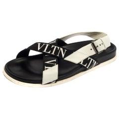 Valentino Black/White Leather And Nylon Logo Print Cross Strap Sandals Size 40