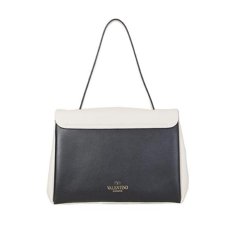 Black VALENTINO black & white leather MIME TOP HANDLE SATCHEL Shoulder Bag For Sale