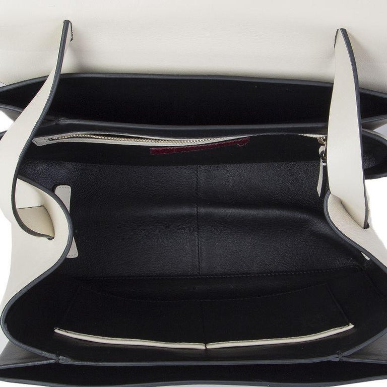 Women's VALENTINO black & white leather MIME TOP HANDLE SATCHEL Shoulder Bag For Sale