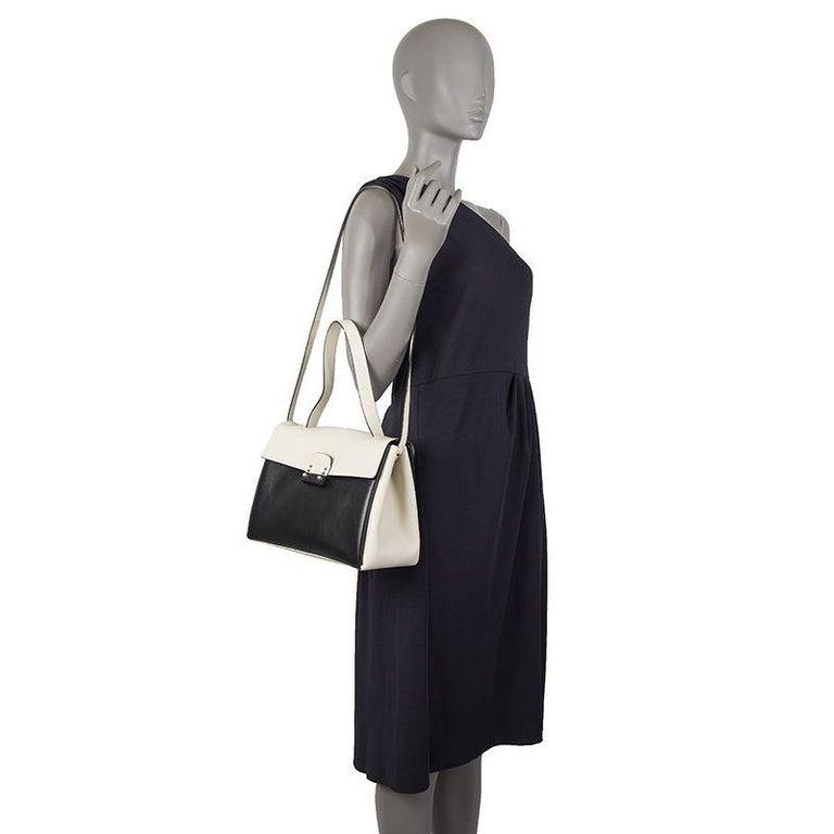 VALENTINO black & white leather MIME TOP HANDLE SATCHEL Shoulder Bag For Sale 2
