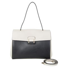 VALENTINO black & white leather MIME TOP HANDLE SATCHEL Shoulder Bag