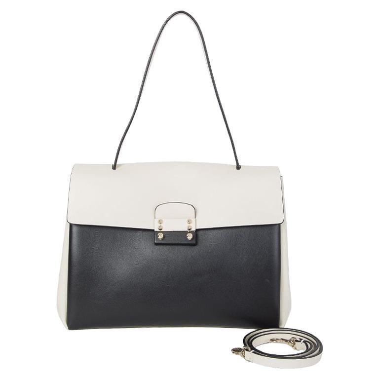 VALENTINO black & white leather MIME TOP HANDLE SATCHEL Shoulder Bag For Sale