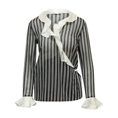 Valentino Black & White Striped Blouse