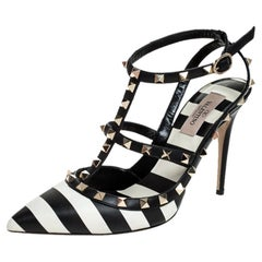 Valentino Black/White Striped Leather Rockstud Ankle Strap Cage Sandals Size 39