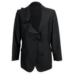 Valentino Black Wool and Silk Blazer with Ruffle Size 40 IT
