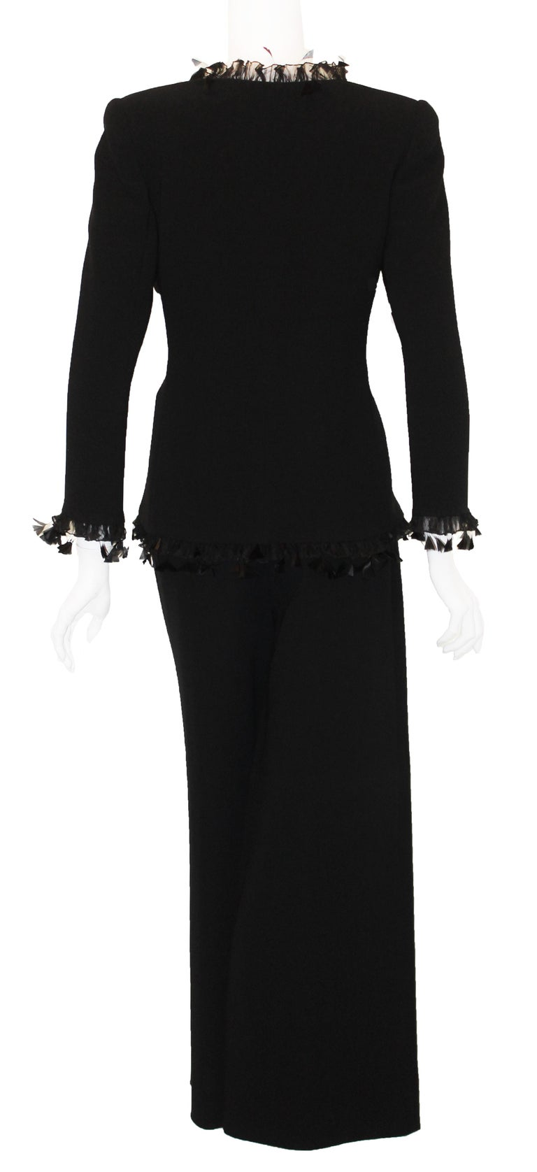 d738eca6c2b5 Valentino Black Wool Blend Palazzo Pant Suit In Excellent Condition For  Sale In Palm Beach