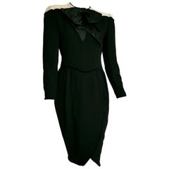 VALENTINO black wool crêpe and silk, white shoulders velvet hems dress - Unworn