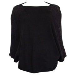 VALENTINO black wool LACE DETAIL KNIT PONCHO Sweater XS