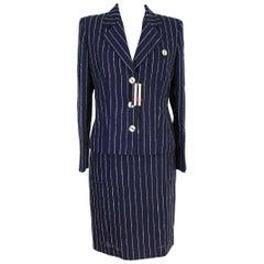 Valentino Blu Wool Pinstripe Dress Suit and Matching Jacket New 1990s