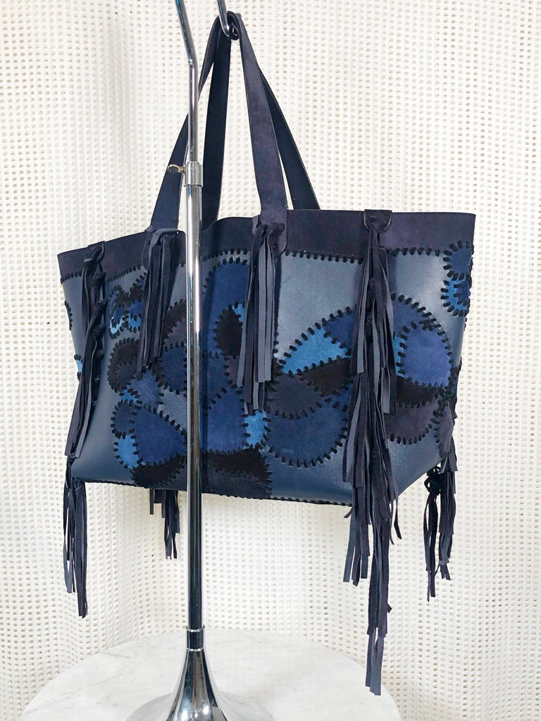 Purple Valentino Blue/Black Laced Patchwork Leather Butterfly Bag For Sale