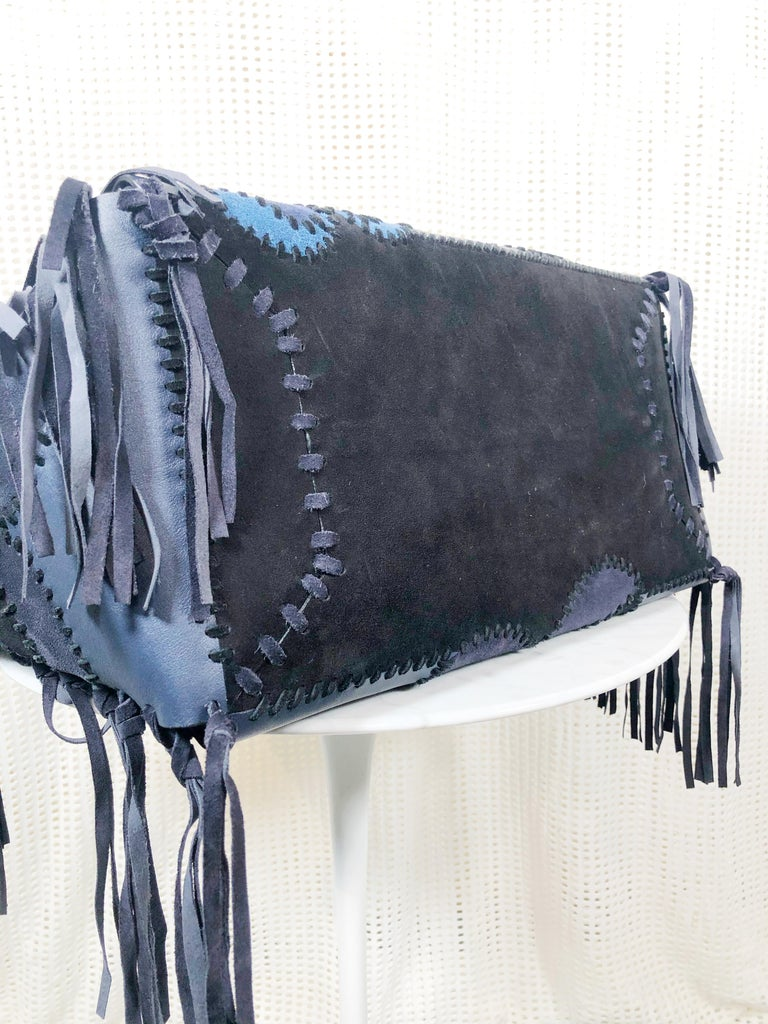 Valentino Blue/Black Laced Patchwork Leather Butterfly Bag In Excellent Condition For Sale In San Francisco, CA
