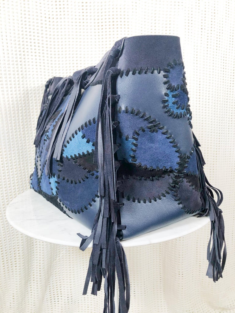 Women's or Men's Valentino Blue/Black Laced Patchwork Leather Butterfly Bag For Sale