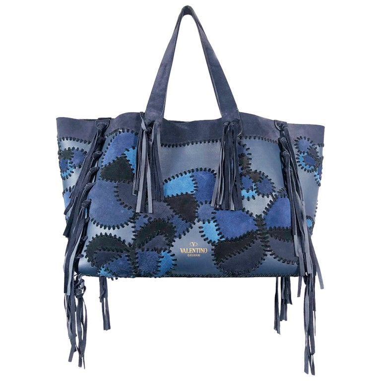 Valentino Blue/Black Laced Patchwork Leather Butterfly Bag For Sale