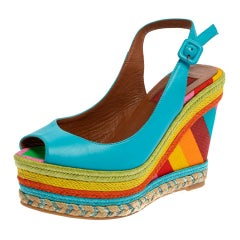 Valentino Blue Leather Peep Toe Singback Rainbow Wedge Sandals Size 36