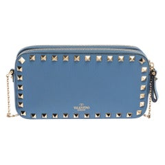Valentino Blue Leather Rockstud Double Zip Crossboody Bag