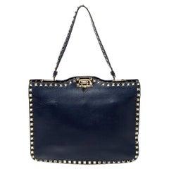 Valentino Blue Leather Rockstud Satchel
