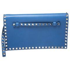 Valentino Blue Leather Rockstud Wristlet Clutch