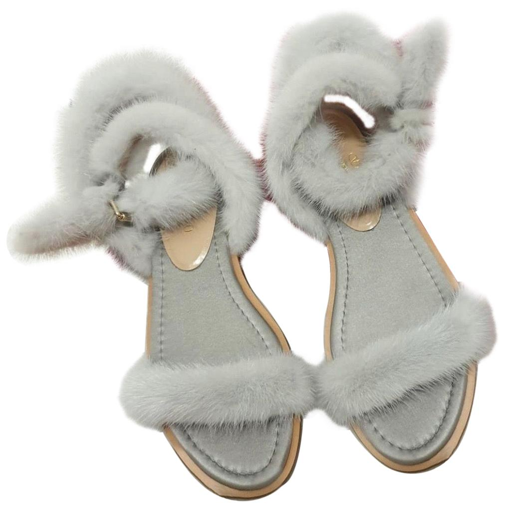 Valentino Blue Mink Fur Sandals