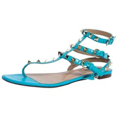 Valentino Blue Patent Leather Rockstud Thong Flat Sandals Size 37