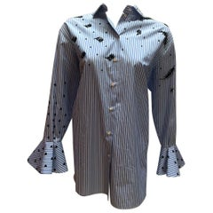 Valentino Blue Pinstripe and Black Floral Beaded Bellsleeve Button Down