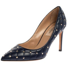 Valentino Blue Quilted Leather Studded Pointed Toe Pumps Size 36