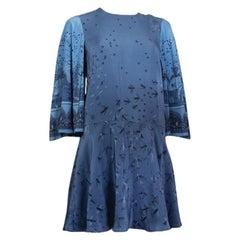 VALENTINO blue silk ZANDRA RHODES BIRD BELL SLEEVE Dress XS