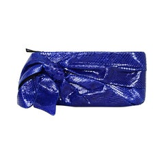 Valentino Blue Snakeskin Clutch Bag with Bow