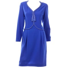 Valentino Blue Vintage Wool Crepe Dress With Rope and Tassel Details