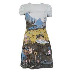 VALENTINO blue viscose ZANDRA RHODES Short Sleeve Dress XS