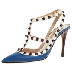 Valentino Blue/White Leather Rockstud Ankle Strap Sandals Size 38
