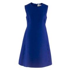 Valentino Blue Wool & Silk Scallop Trim Mini-Dress 42 S