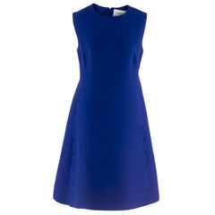 Valentino Blue Wool & Silk Scallop Trim Mini-Dress - Size US 8