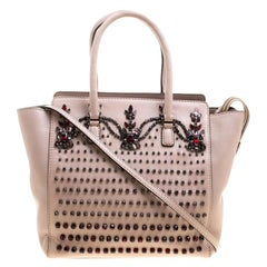 Valentino Blush Pink Leather Jewel Embellisehed Tote