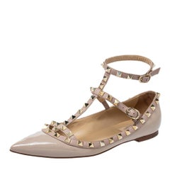 Valentino Blush Pink Patent Leather Rockstud Ankle Strap Ballet Flats Size 38.5