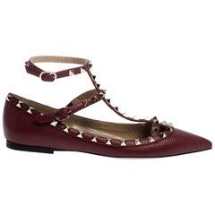 Valentino Bordeaux Leather Rockstud Ankle Strap Ballet Flats Size 39.5