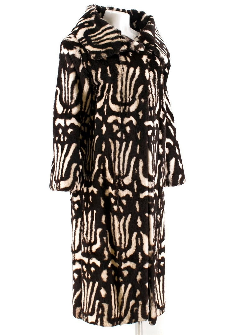 Valentino Boutique Abstract Print Rabbit Fur Long Coat.  - Beautifully soft european rabbit fur - Abstract animal print  - Long-sleeved - Over-sized collar - Black satin lining - Single hook fastening at the top  Please note, these items are