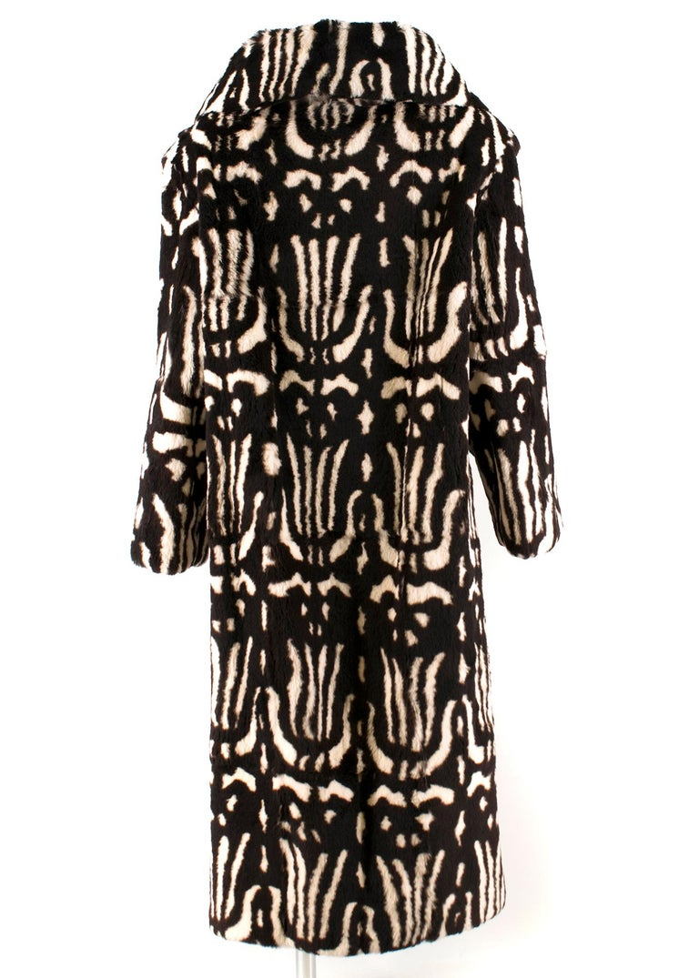 Black Valentino Boutique Abstract Print Rabbit Fur Long Coat US 8 For Sale