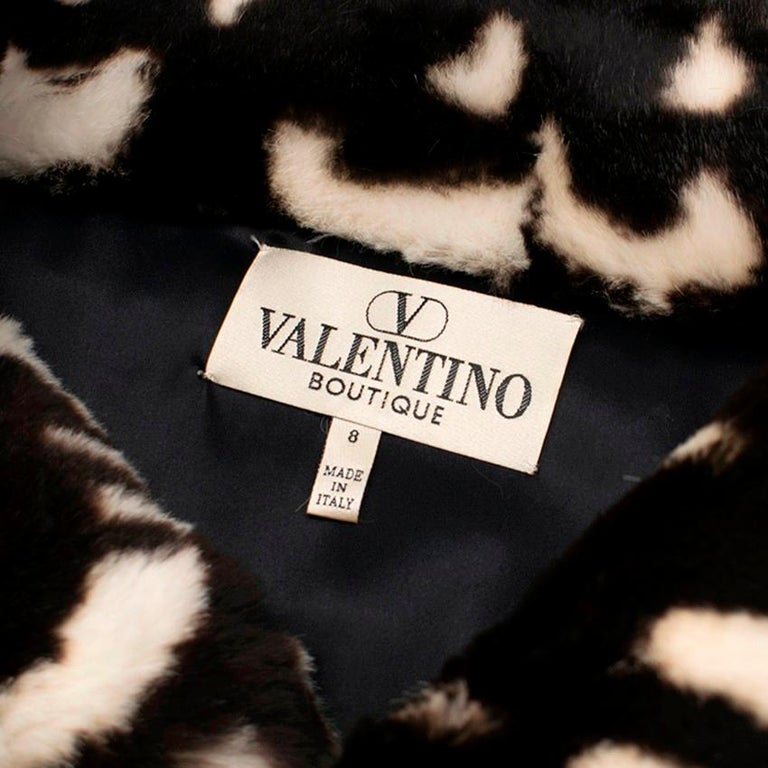 Women's Valentino Boutique Abstract Print Rabbit Fur Long Coat US 8 For Sale