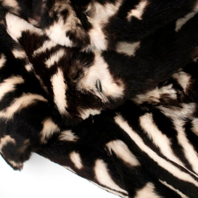 Valentino Boutique Abstract Print Rabbit Fur Long Coat US 8 For Sale 1