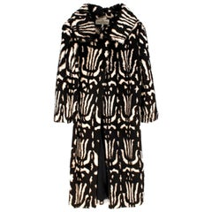 Valentino Boutique Abstract Print Rabbit Fur Long Coat US 8