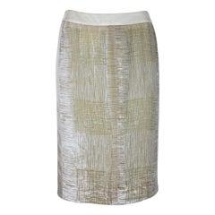 Valentino Boutique Beige Silk Velvet Pencil Skirt 1990s