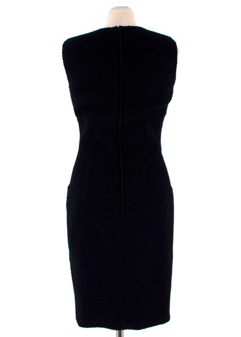 Valentino Boutique Black Fitted Wool Dress US 6 In Good Condition For Sale In London, GB