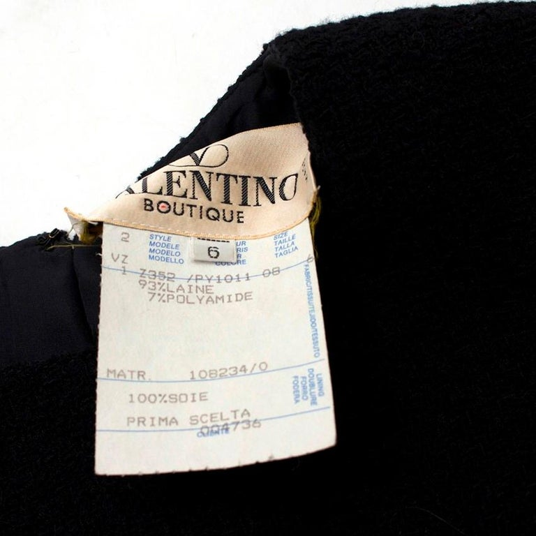 Valentino Boutique Black Fitted Wool Dress US 6 For Sale 1